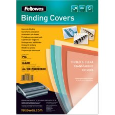Fellowes Deckblatt DIN A4 PVC blau transparent 0,20 mm