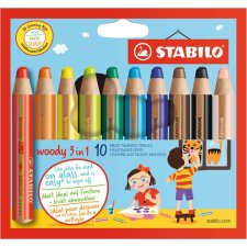 STABILO Multitalentstift woody 3 in 1 10er Karton Etui