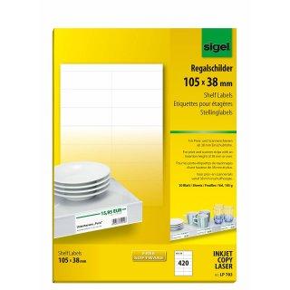 sigel PC Einsteckschilder für Hängemappen 60 x 21 mm weiß 156 Schilder