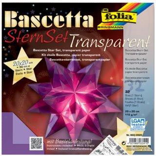 folia Faltblätter Bascetta-Stern 200 x 200 mm 115 g//qm 32 Blatt gelb-transparent