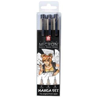 SAKURA Manga-Set PIGMA MICRON 3er Etui schwarz