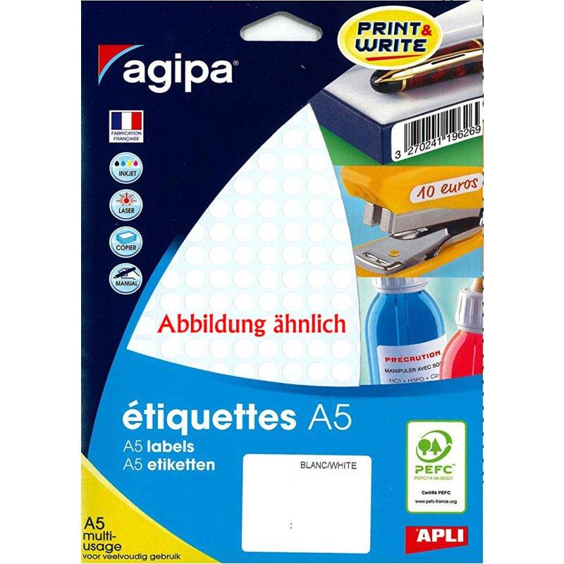 agipa Universal-Etiketten Durchmesser 45 mm rund weiß 192 Etiketten
