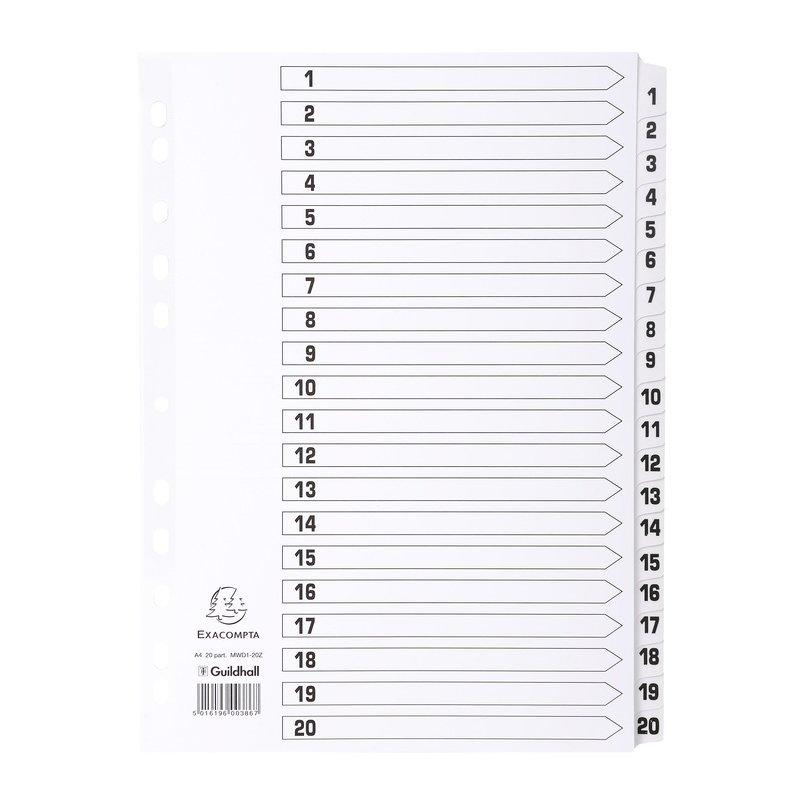 1 St/ück wei/ß PP, Teilung 1-31 - 31 farbige Taben, DIN A4 MAXI, Universallochung Exacompta 88E Register