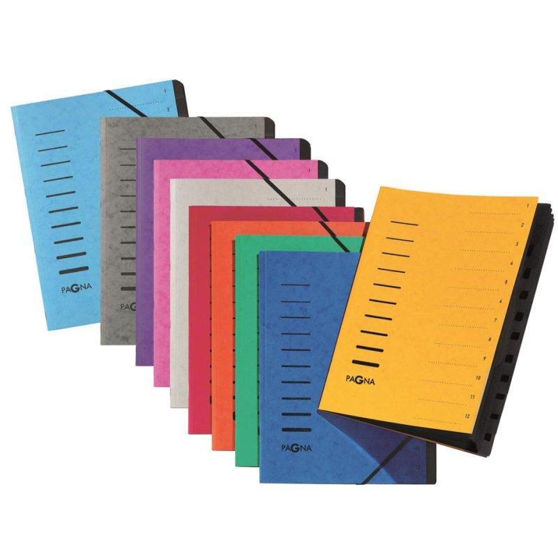 "PAGNA Ordnungsmappe /""Sorting File/"" 12 Fächer 1-12 DIN A4 aus Karton blau"