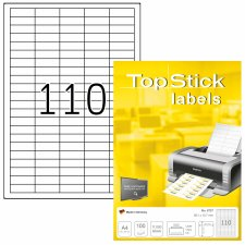TOP STICK Universal-Etiketten 38,1 x 12,7 mm weiß 11.000...